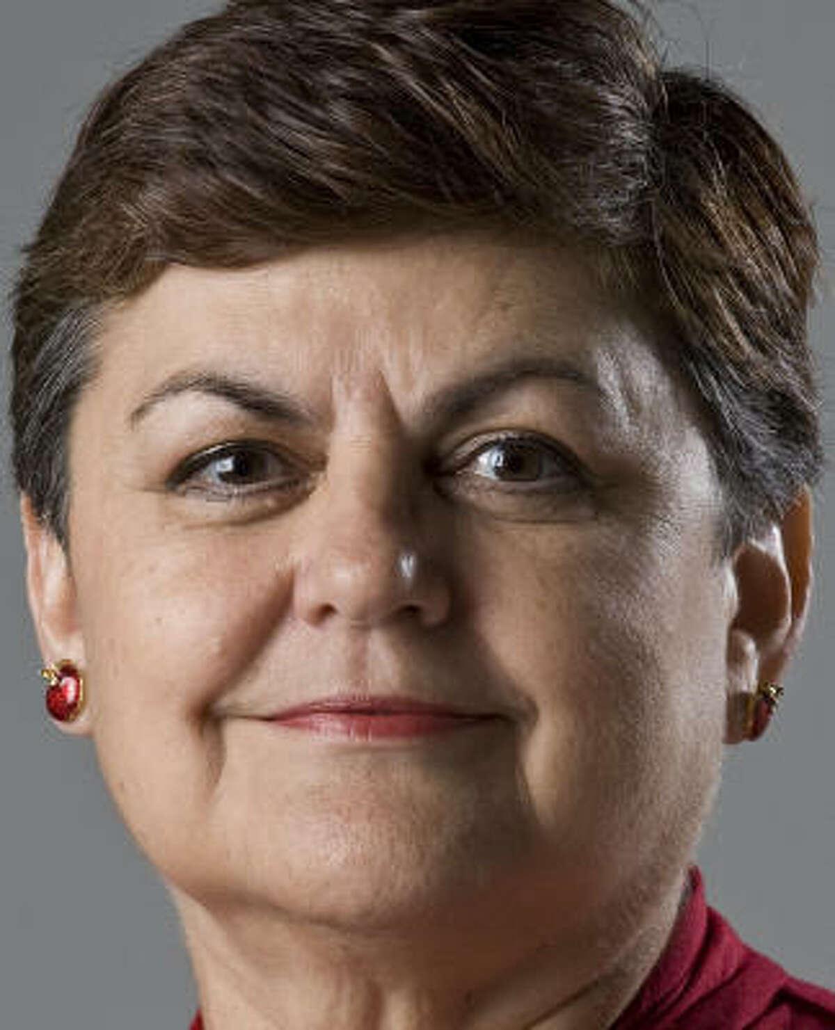 Houston Federation of Teachers leader Gayle Fallon backed candidate Alma Lara, above, a retired principal.