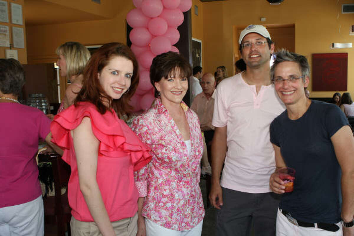 Heather Pray, from left, Beth Sanders Moore, Ian Rosenberg and Monica Pope joined forces at the Beth Sanders Moore Young Breast Cancer Survivors Pink Party at 13 Celsius on a scorching afternoon.