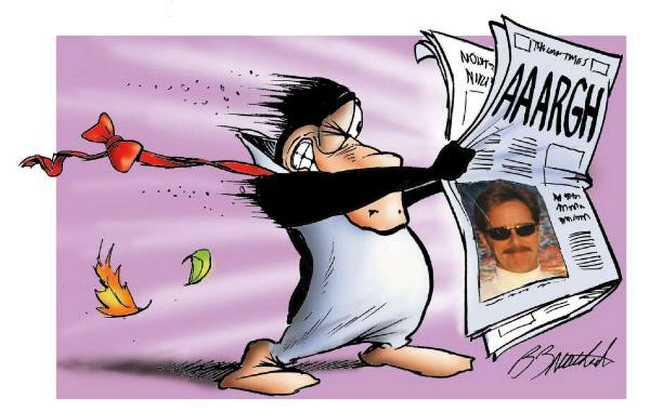 Bloom County's main character Opus reads a newspaper with a photo of creator Berkeley Breathed, who contributed an introduction to the collection and cover art for each of its books. Photo: Associated Press