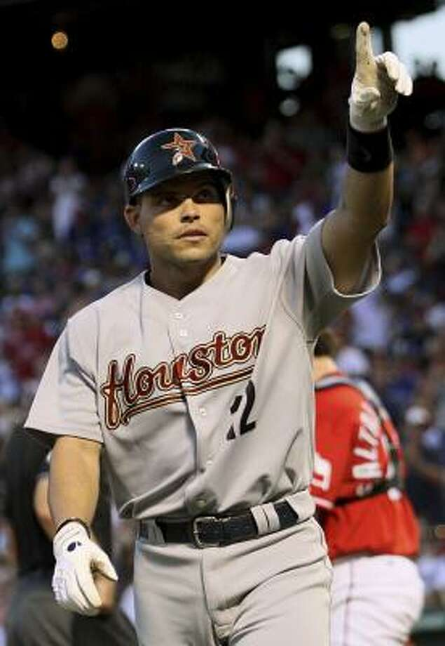 Astros catcher Ivan Rodriguez celebrates after hitting a home run in the top of the fifth inning. Photo: Tom Pennington, AP