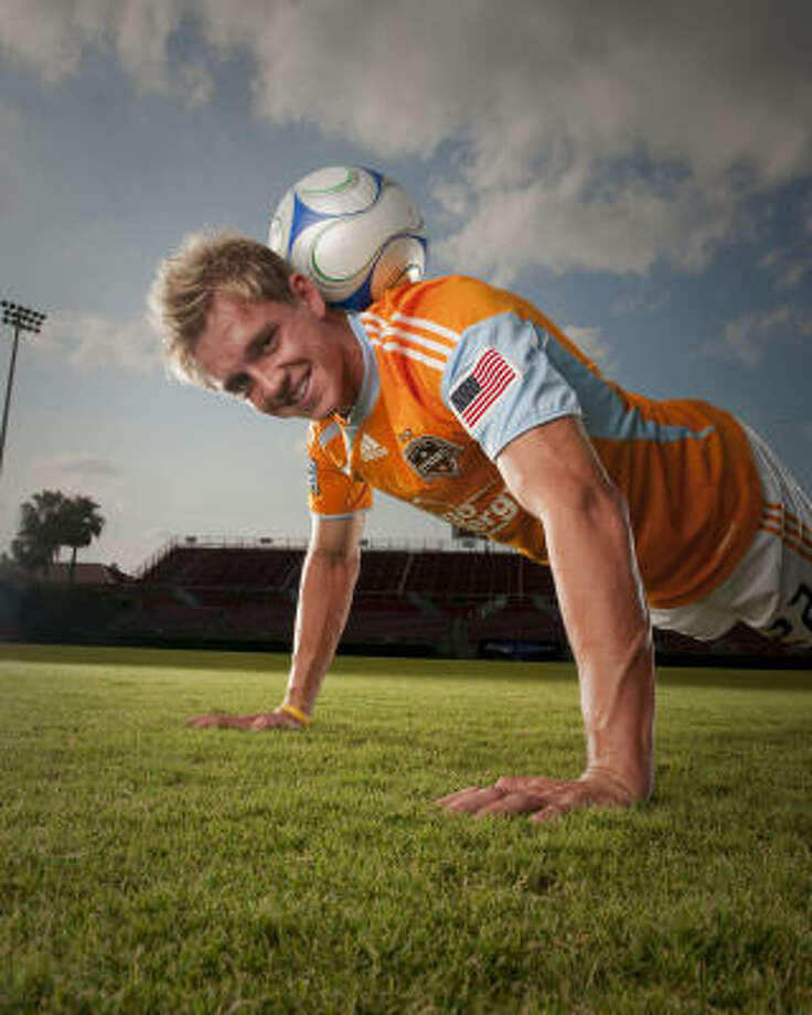 "Dynamo midfielder Stuart Holden relaxes his strict regimen a little in the off-season, but even then, he says, ""taking care of myself is really part of my lifestyle and a habit."" Photo: Robert Seale, For The Chronicle"