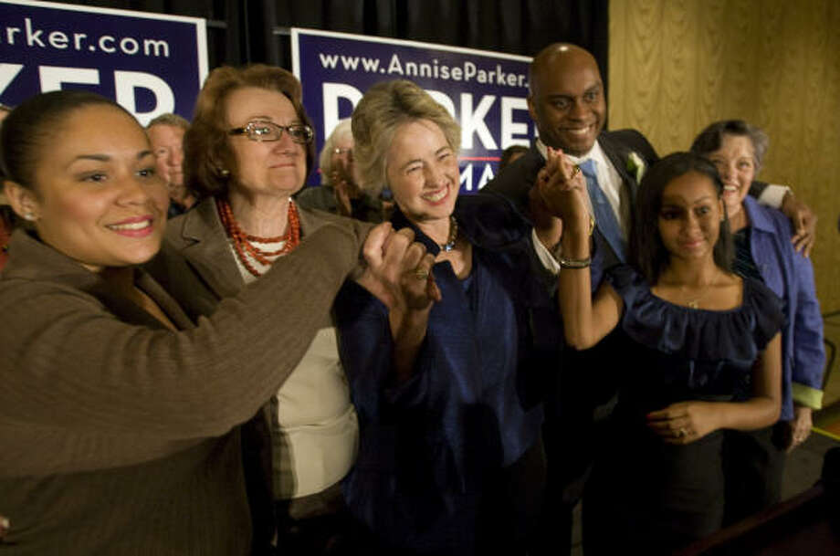 Annise Parker, center, had plenty of support Nov. 3 from her daughter Daniela, left, partner Kathy Hubbard; son Javon Tyler; daughter Marquitta; and her mother, Kay Parker. Photo: Brett Coomer, Chronicle
