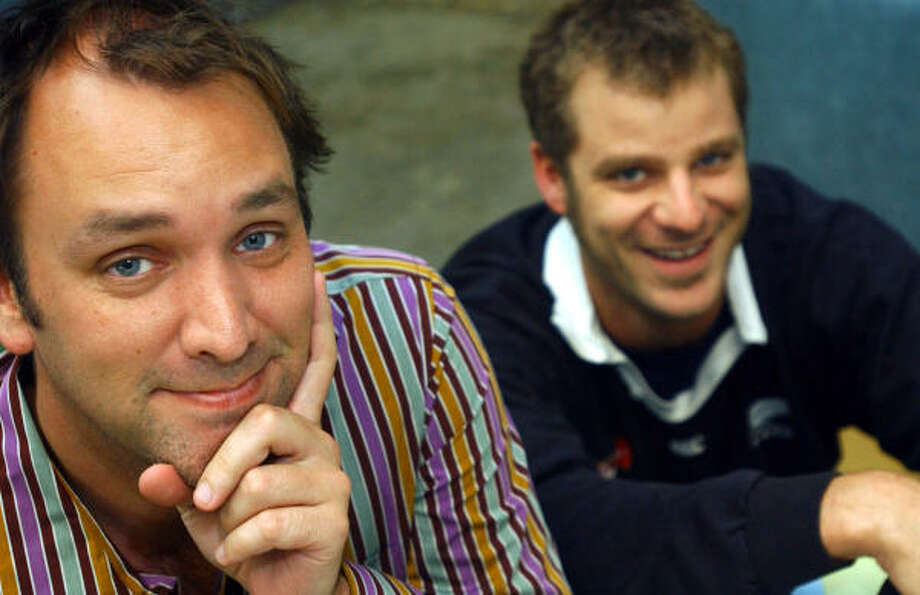 South Park creators Trey Parker, left, and Matt Stone are executive producers of How's Your News?, an informational magazine show on MTV whose reporters have mental disabilities. Photo: ANN JOHANSSON, AP