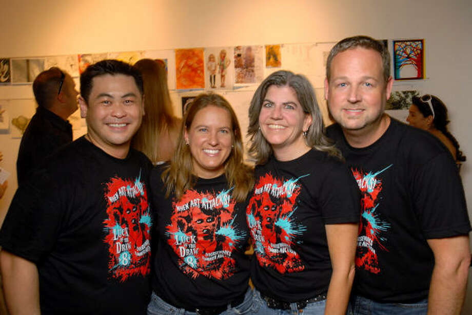 """Sixto Wagan, from left, Karen Niemeier, Diane Barber and J. Douglas Parker held the reins of DiverseWorks' """"Luck of the Draw 8,"""" which took place at the alternative art space. Photo: Dave Rossman, For The Chronicle"""