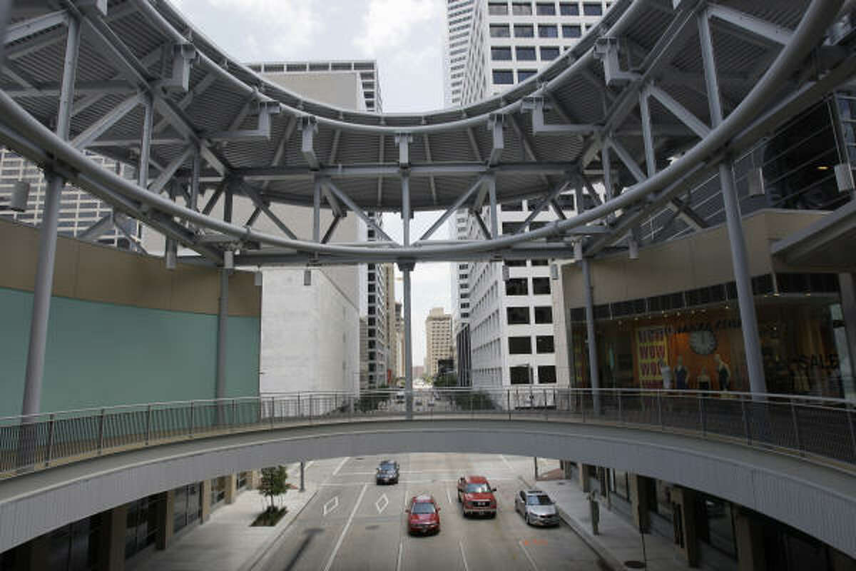 The Sky Ring is a distinctive architectural element of the Houston Pavilions project downtown.