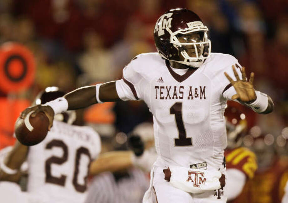 Humble High graduate Jerrod Johnson may have started playing quarterback at Texas A&M out of necessity, but now he's poised to have a big junior season for the Aggies. Photo: Charlie Neibergall, AP