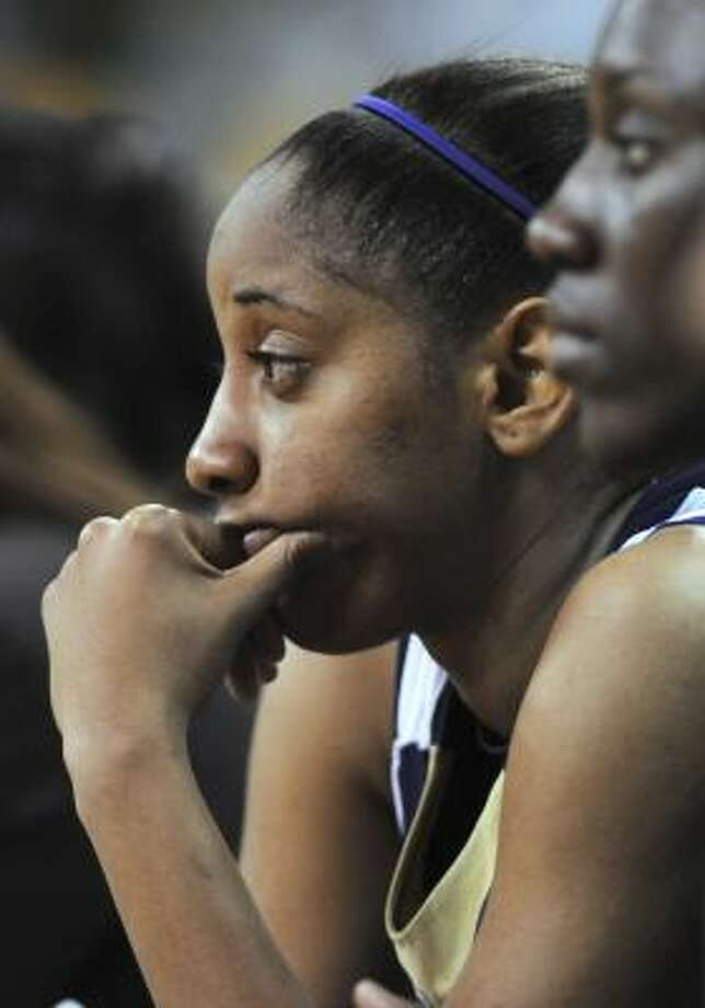 Prairie View A&M's Candice Thomas looks on during Prairie View's opening-round loss. Photo: Steve Pope, AP