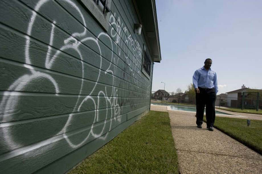 Sam Campbell, president of his east Harris County neighborhood's homeowners association, has seen more graffiti. Photo: SHARON STEINMANN, Chronicle