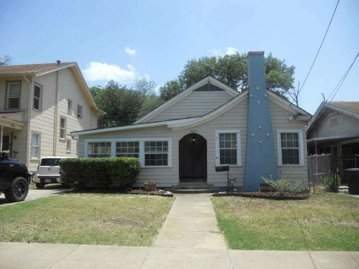 This 88-year-old house at 622 W. Kings Highway has two bedrooms and one bathroom and is listed at $149,000. The home's interior has carpet, a fireplace and a formal dining room, while the exterior has a patio and trees.