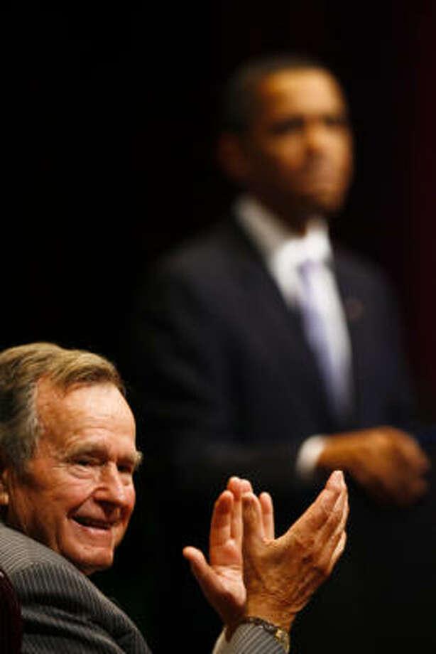 Former President Bush defended President Obama's visit to Texas A&M. Photo: Michael Paulsen, Chronicle