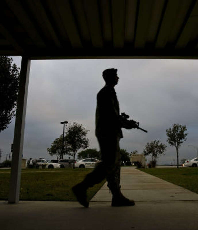 Fort Hood's visitor center had extra security on patrol Saturday near Killeen. Photo: Nick De La Torre, Chronicle