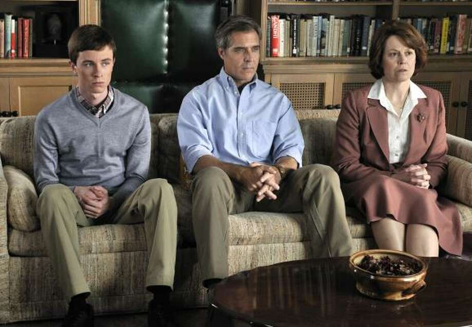 "Determined to ""cure"" her son of homosexuality, Mary Griffith (Sigourney Weaver), right, brings Bobby (Ryan Kelley), left, and her husband, Bob (Henry Czerny), to therapy sessions in the Lifetime movie Prayers for Bobby. Photo: Ben Mark Holzberg, Lifetime Television"