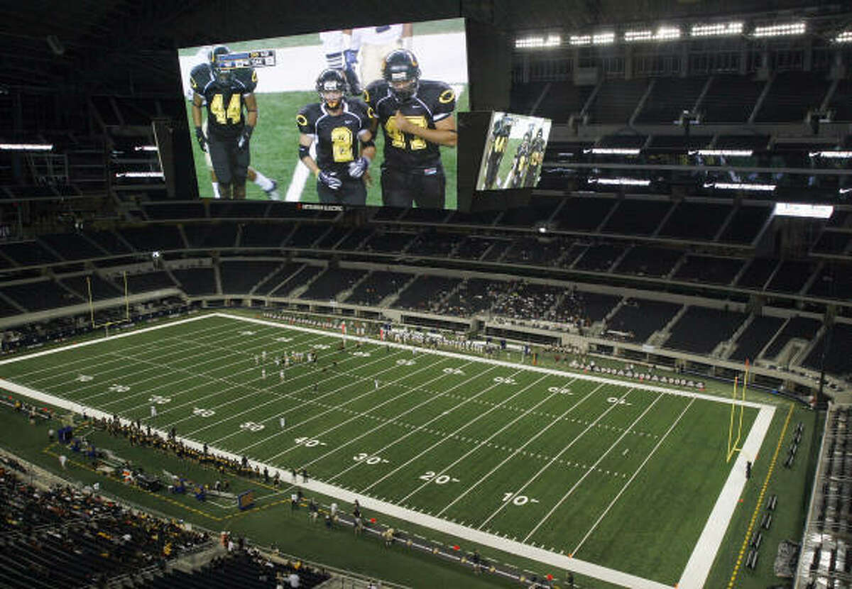 The massive Cowboys Stadium in Arlington played an unusual host to the Klein Oak-Notre Dame game.