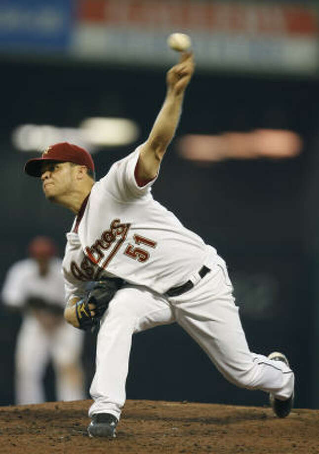 Wandy Rodriguez is 4-0 with an ERA of 0.62 in four July starts. Photo: Karen Warren, Houston Chronicle