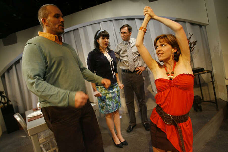 "Troy Schulze, Charlesanne Rabensburg, Greg Dean, and Amy Bruce,star in ""Hunter Gatherers,"" a dark comedy by Peter Sinn Nachtrieb. Photo: MAYRA BELTRAN :, CHRONICLE"