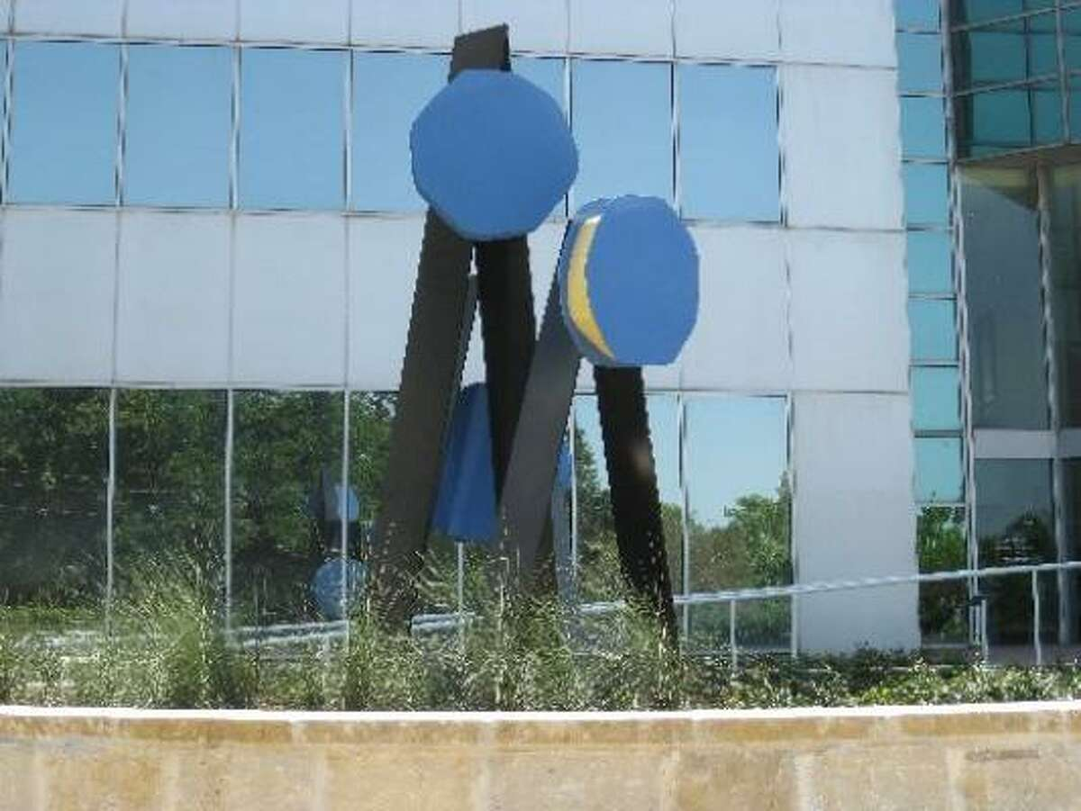 This piece, an untitled element from sculptor George Sugarman's St. Paul Commission (1971), has been installed outside the 602 Sawyer office building in Houston's Old Sixth Ward by Grubb & Ellis Realty Investors.