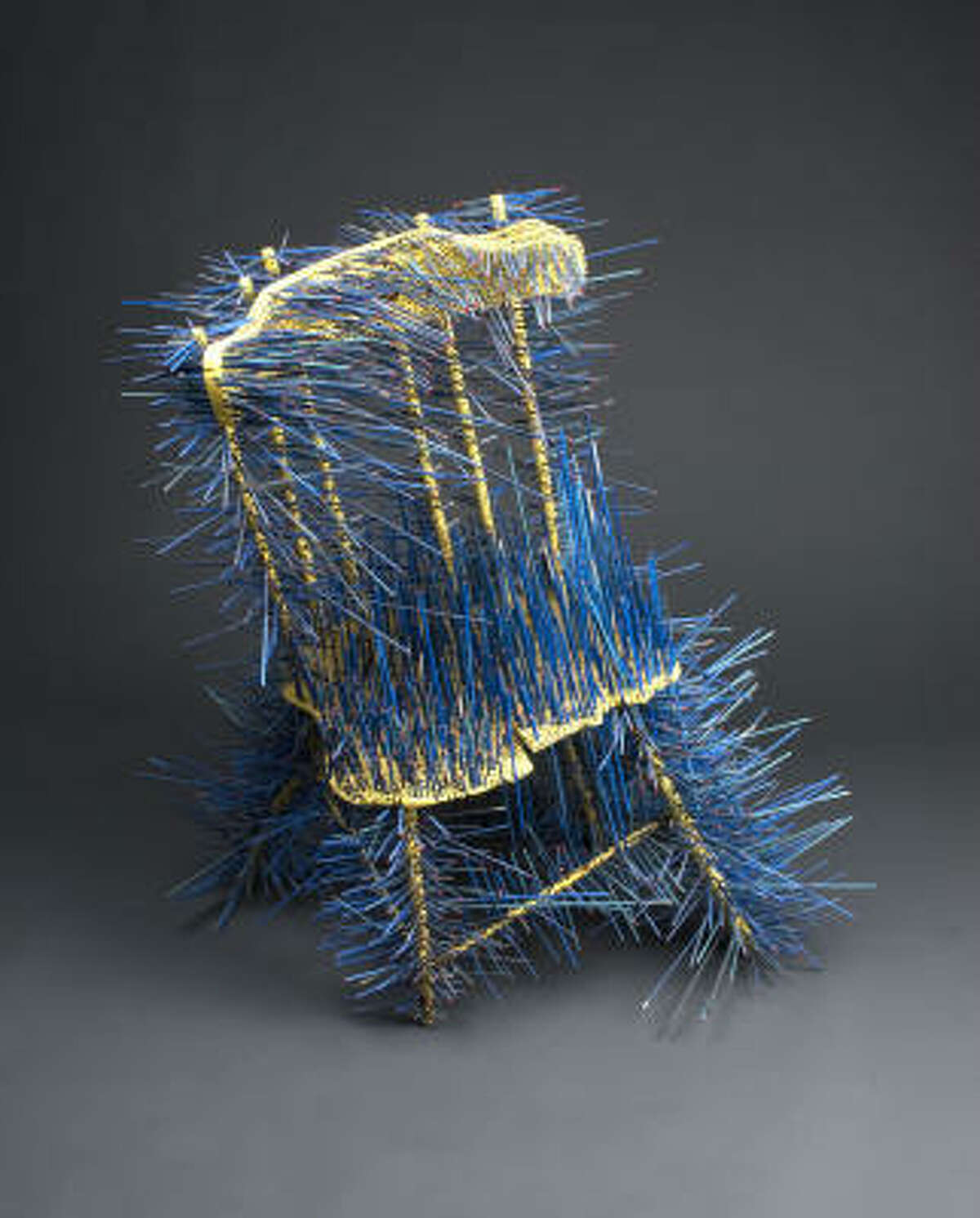 Jennifer Marsh's Blue Chair, 2005, is part of the Houston Center for Contemporary Craft's Challenge VII: dysFUNctional exhibit, which is designed to push the boundaries of what is considered craft.
