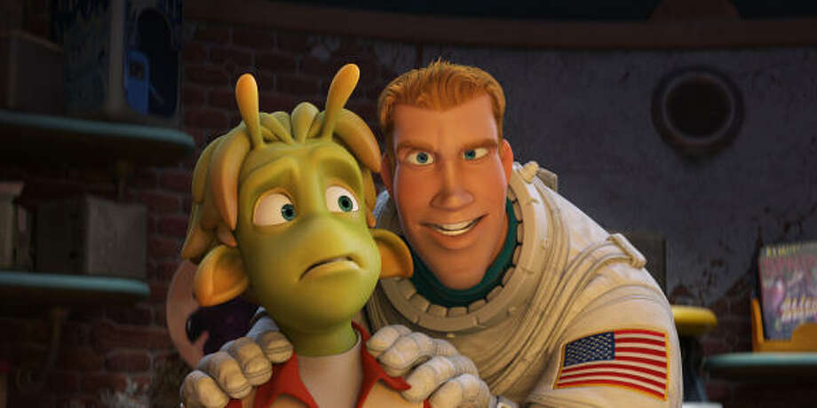 "Green-skinned Lem, voiced by Justin Long, befriends misplaced astronaut Chuck Baker, voiced by Dwayne Johnson, in the animated feature ""Planet 51."" Photo: COLUMBIA PICTURES : ASSOCIATED PRESS"