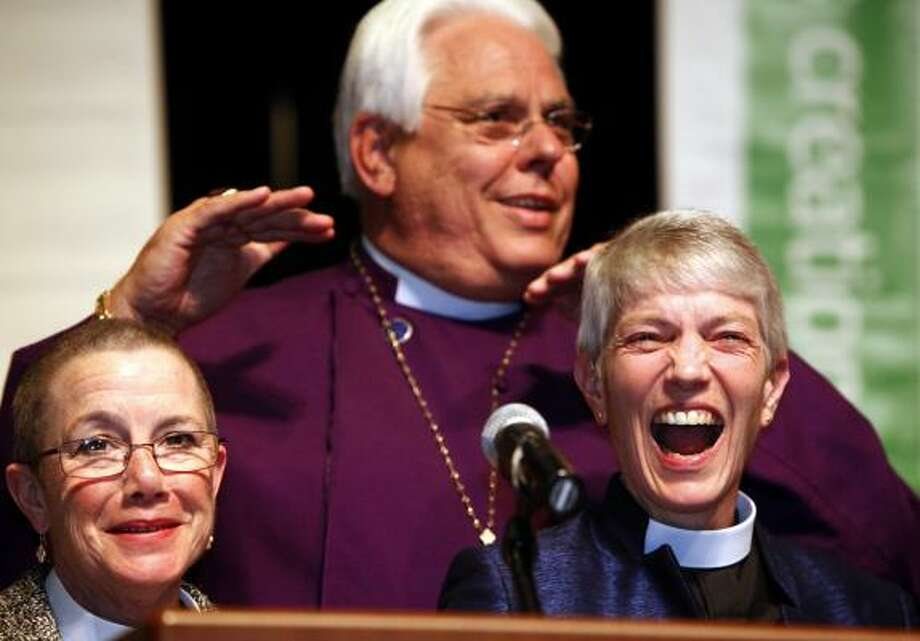 The Rev. Mary D. Glasspool, right, is poised to become the second openly gay bishop elected in the 2.1 million-member Episcopal Church. Photo: Irfan Khan, ASSOCIATED PRESS
