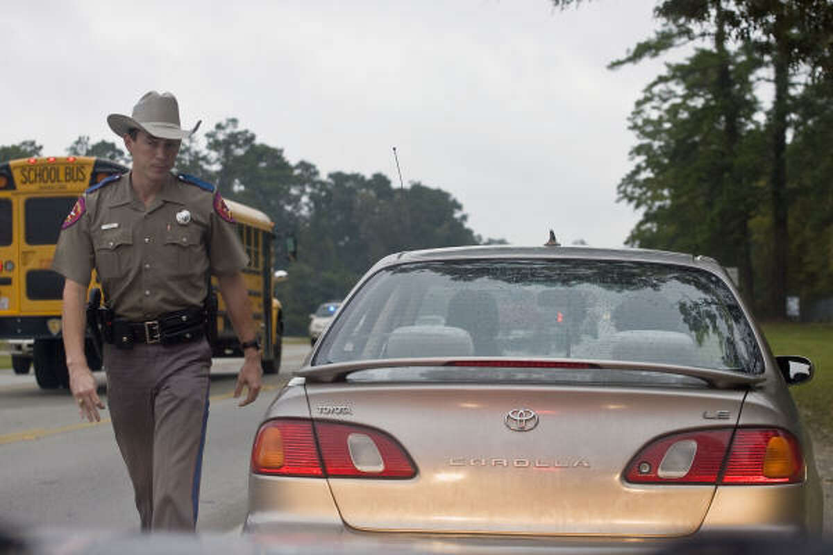 DPS trooper Chris Cash issued a warning for using a cell phone in a school zone in Willis.
