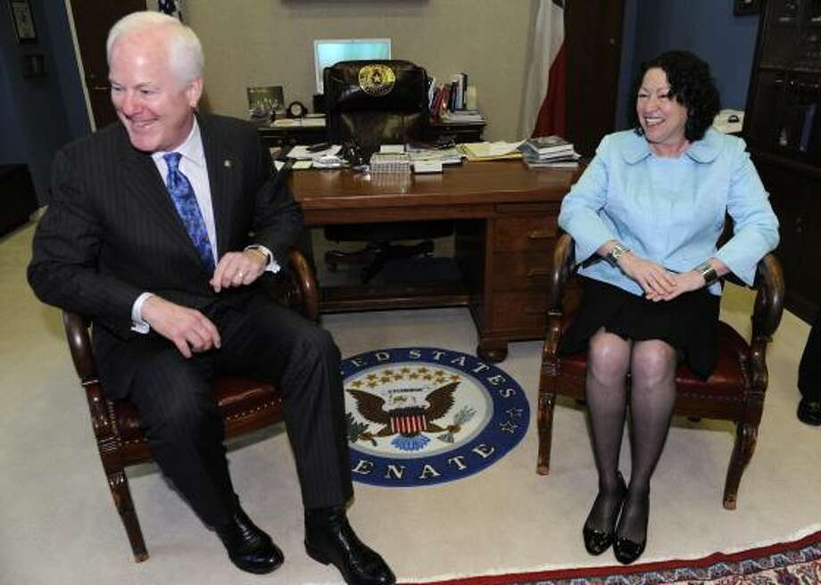 "John Cornyn is one of many senators Sonia Sotomayor has met with in advance of her confirmation hearings. Cornyn says his legal training and 13 years on the bench enable him to press his differences with the nominee ""without being nasty."" Photo: Susan Walsh, AP"