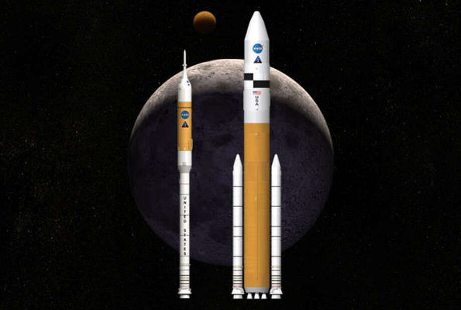 The Ares rockets (shown here in a drawing by an artist) are being developed at the space center in Huntsville, Ala. Photo: AP