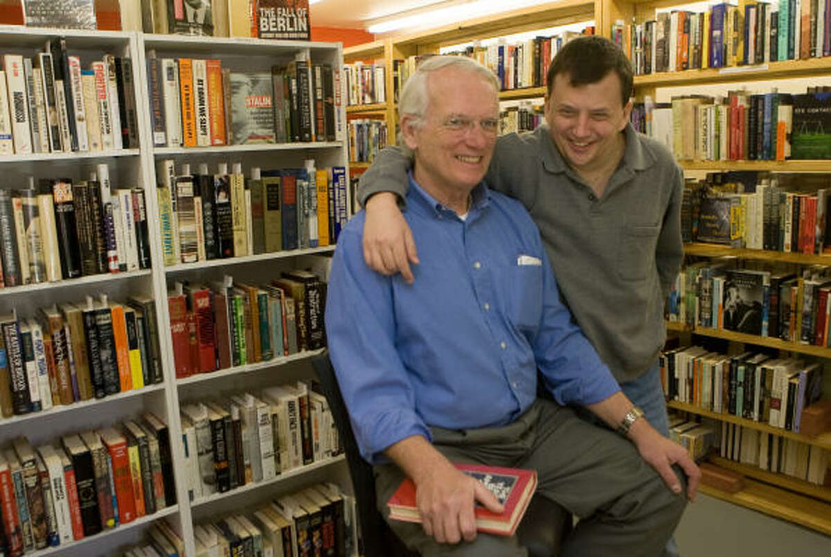 Dick Rohfritch, left, has opened Good Books in the Woods, a rare book store in the Woodlands. He runs it with his son, Jay Rohfritch.