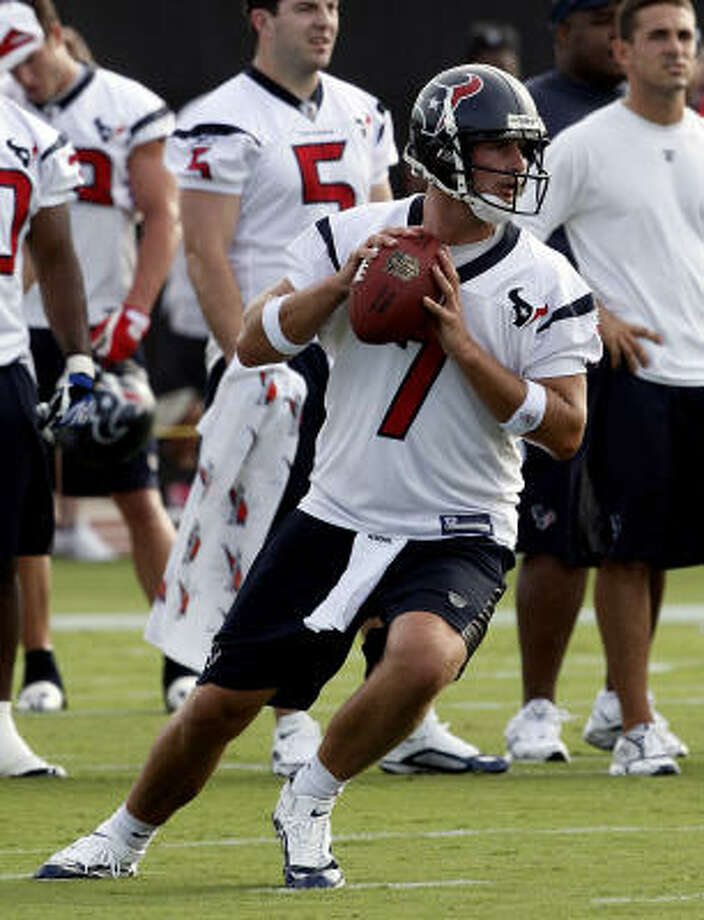 Dan Orlovsky drops back to pass during the first day of Texans training camp Friday. Orlovsky says he's looking forward to the preseason games. Photo: Bob Levey, Getty Images