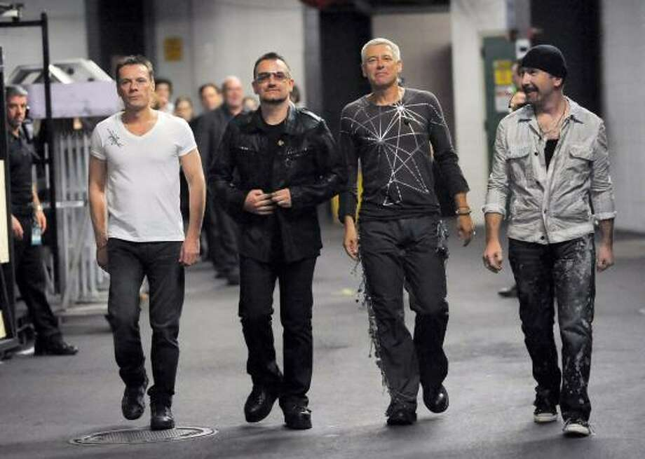 From left, Larry Mullen Jr., Bono, Adam Clayton and The Edge of the rock band U2. Photo: Evan Agostini, AP