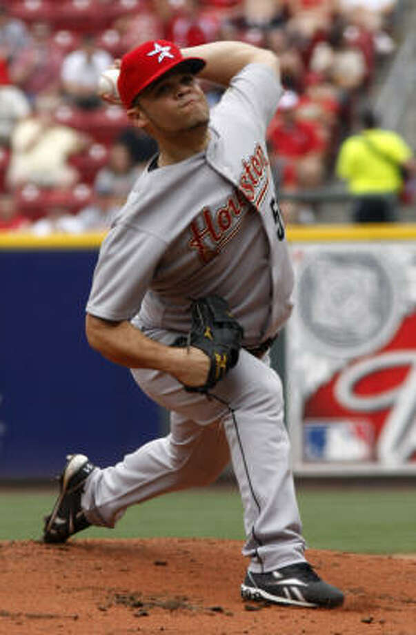 Wandy Rodriguez started for the Astros but only pitched four innings due to a rain delay. Photo: David Kohl, AP