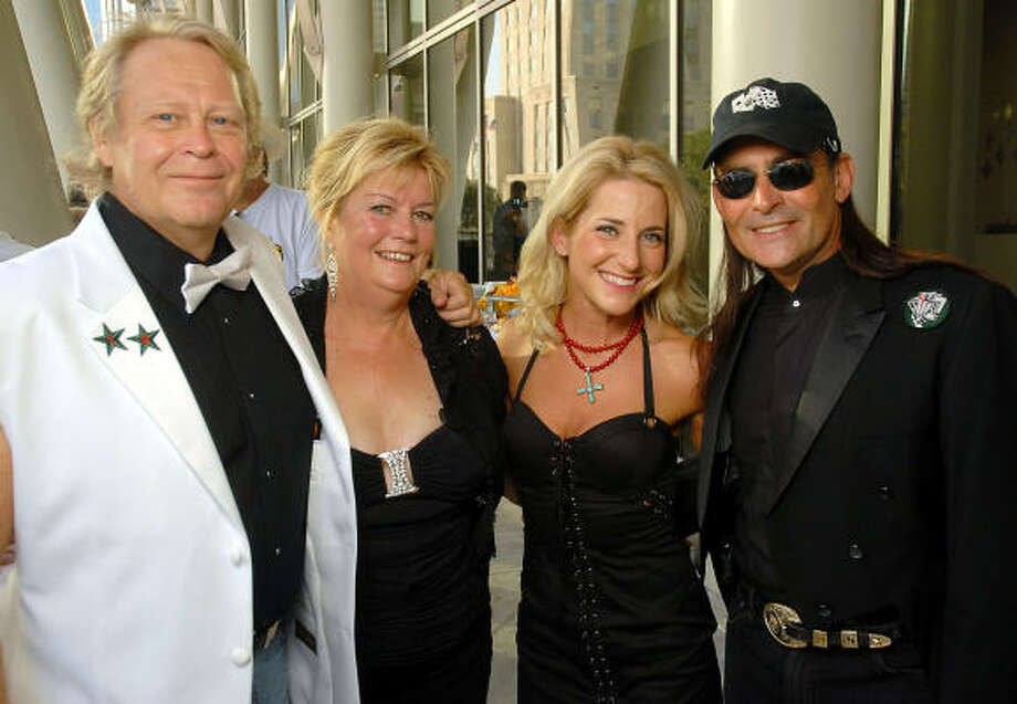Bob and Sharon Bulian, from left, joined Vanessa Croix and Harris County treasurer Orlando Sanchez at the Deacons of Deadwood benefit evening that began on the terrace at Artista at the Hobby Center for the Performing Arts. Photo: Dave Rossman