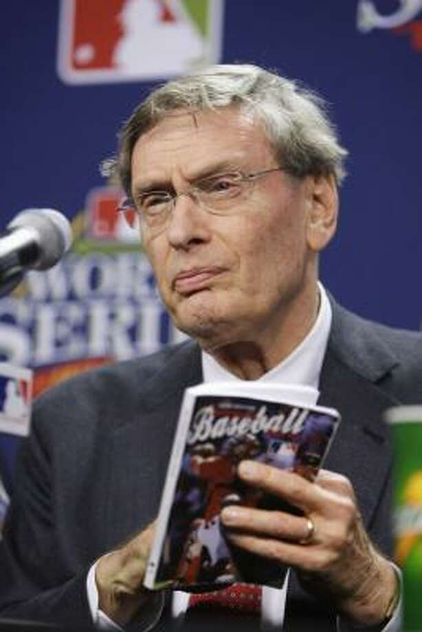 In his annual hour-long session with reporters, Selig touched on an assortment of topics, including the hero-like reception Ramirez has received since returning from a drug suspension. Photo: Gene J. Puskar, AP