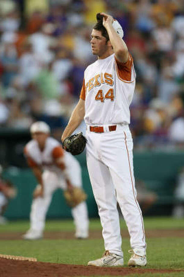 Texas' Austin Wood reacts in the sixth inning. Photo: Elsa, Getty Images