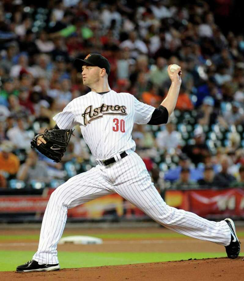 Houston Astros pitcher J.A. Happ in a baseball game against the Milwaukee Brewers Friday, Aug. 5, 2011, in Houston. Photo: Pat Sullivan/Associated Press
