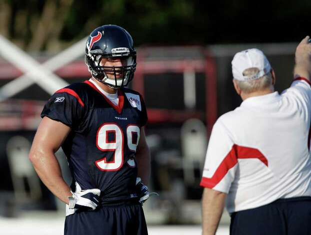 Houston Texans defensive end J.J. Watt (99) during the first day of their NFL football training camp Monday, Aug. 1, 2011, in Houston. (AP Photo/David J. Phillip) Photo: David J. Phillip/Associated Press