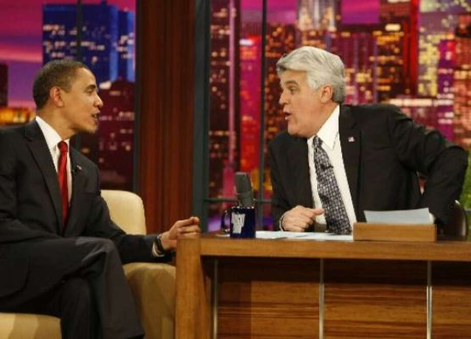 March 19:President Obama appears on The Tonight Show with Jay Leno. He is the first sitting American president to appear on a late-night talk show. Photo: NBC