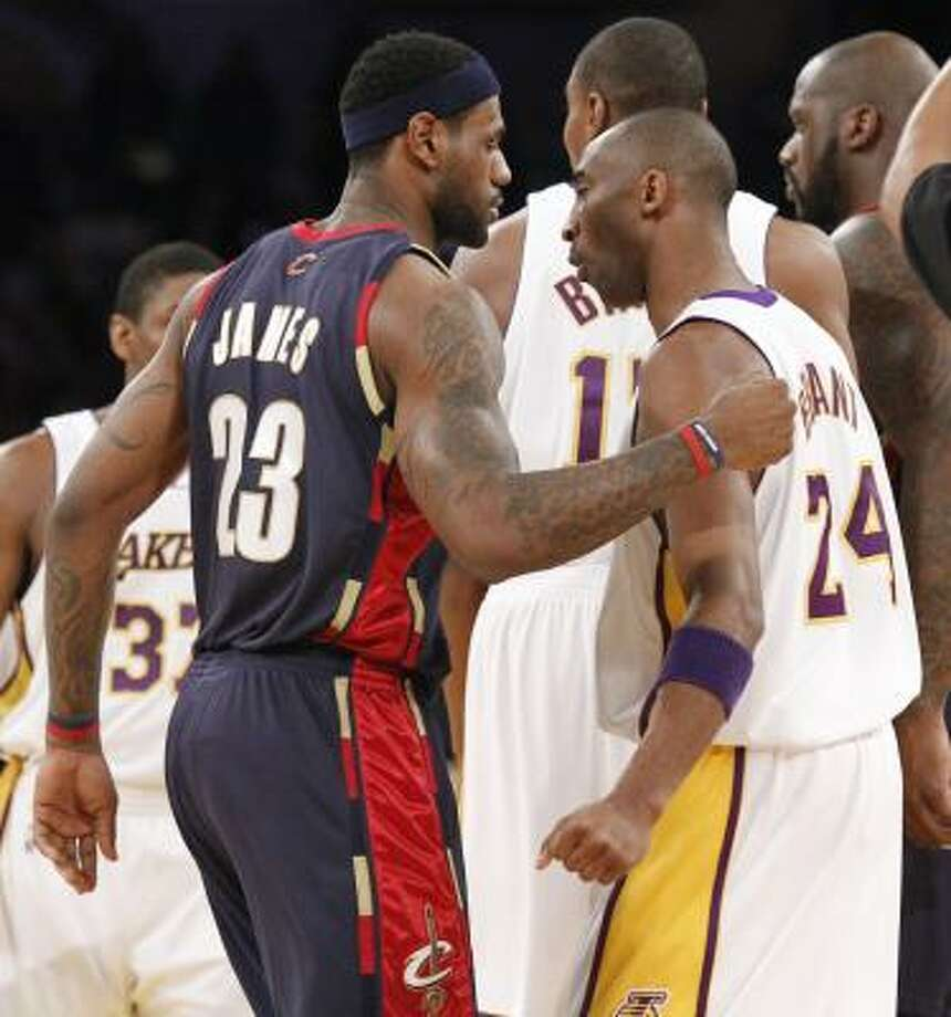 Cavaliers 102, Lakers 87In a matchup of the last two league MVPs, Kobe Bryant, right, outscored LeBron James 35-26, but James' Cavaliers prevailed. Photo: Lori Shepler, AP