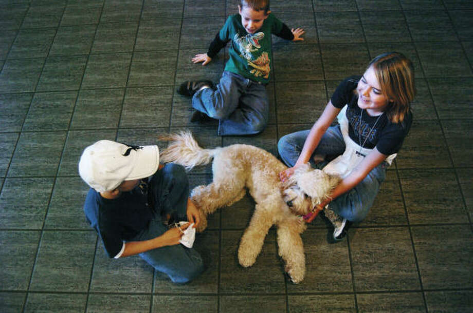 Mogie plays with Jack Sanchez, 10, Billy Jack Cody, 5, and Kristian White.  He has been named the official house pet at Houston's Ronald McDonald House. Photo: For The Chronicle
