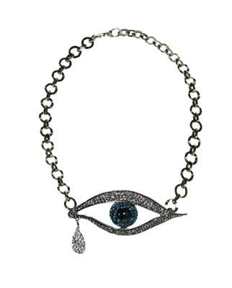 Fashion designer Catherine Malandrino designed this eye necklace for her fall 2009 collection. Read more about Malandrino and the inspiration for her fall line here.