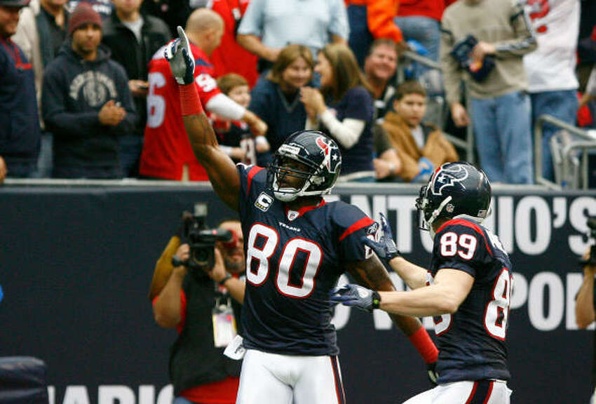 Texans wide receiver Andre Johnson had a season-high 193 yards receiving and two touchdowns in the 34-7 win over Seattle.