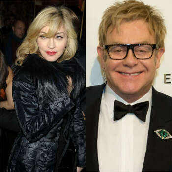 Madonna vs. Elton John:  At the Q Awards in 2004, Elton went off on his peers, particularly Madonna, claiming that she lip-syncs. Madonna fired back that she didn't lip sync, and also didn't spend her time trashing other artists. After apologizing, Elton invited Madonna to sing at a party he was throwing for this husband-to-be. Madonna didn't show, and Elton took to the stage calling her a miserable cow.