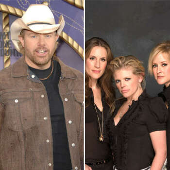 Toby Keith vs. Dixie Chicks: Natalie Maines condemned Toby for making country music sound ignorant. Then she said she was ashamed George Bush was from Texas. This got Toby riled up, and he doctored a photo of Natalie sitting next to Saddam Hussein.