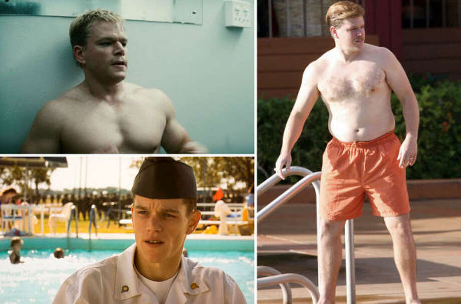 To play rugby star Francois Pienaar in Invictus, top left, Matt Damon packed on the muscle. Damon was able to quickly transform from schlubby (Informant!) to sculpted. The star ran a lot and ate mostly apples to drop weight for his role in Courage Under Fire, bottom left.