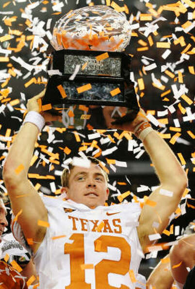 Colt McCoy celebrates a 13-12 Texas victory against the Nebraska Cornhuskers following Saturday's Bi