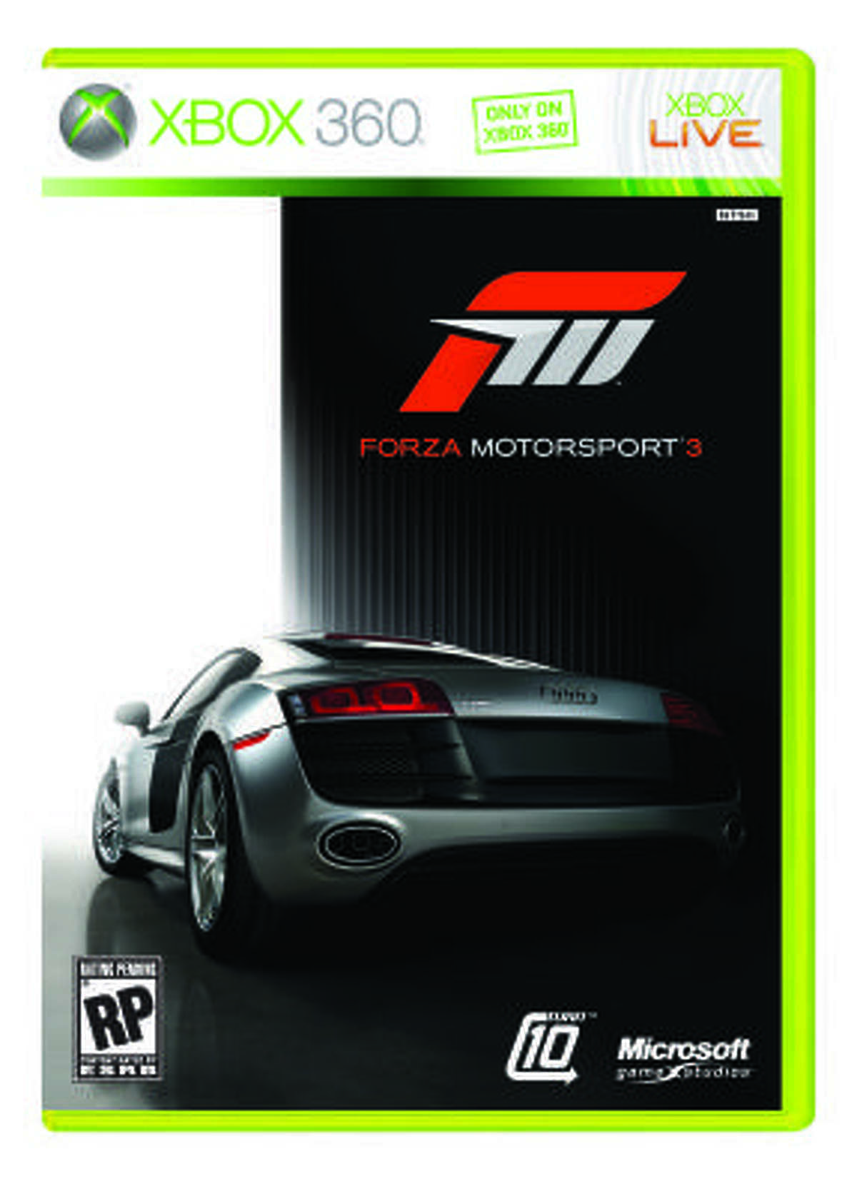 Xbox 360: Forza Motorsport 3 Microsoft; Rated E for Everyone; $59.99 Forza 3 is a serious racer that is also a family-friendly. It's rated E for Everyone and offers players the chance to race on their own terms. Anyone can pick it up, race some and find themselves comfortable behind the wheel of Ferraris, Bentleys, even an R-34 Skyline. Turn 10 wanted to make a game where