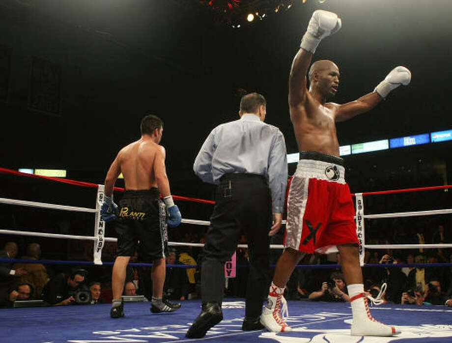 Bernard Hopkins celebrates at the final bell against Enrique Ornelas after their light heavyweight bout at The Liacouras Center. Photo: Nick Laham, Getty Images