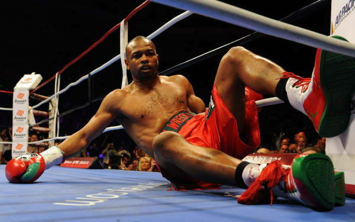 Roy Jones Jr. was floored with a right hand to the head after one minute.