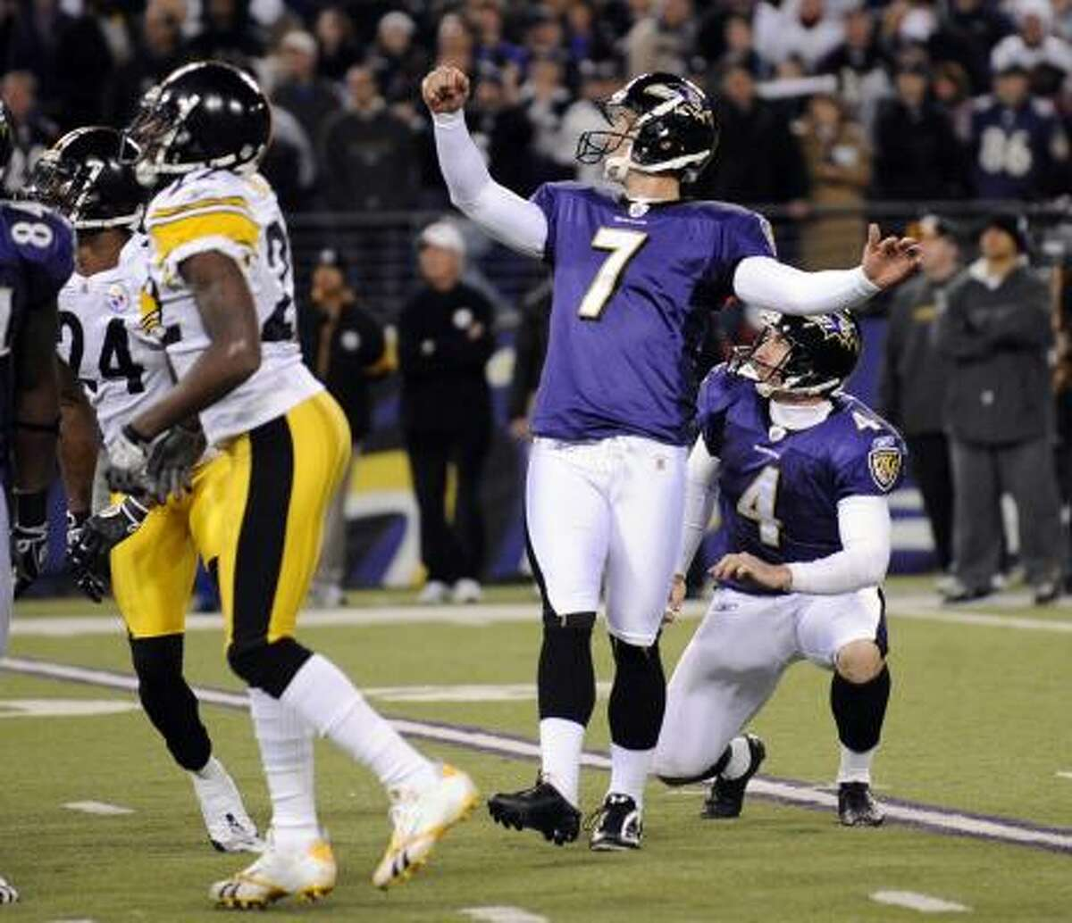 Nov. 29: Ravens 20, Steelers 17 (OT) Ravens kicker Billy Cundiff (7) kicked a 29-yard field goal in overtime to give Baltimore a much-needed win.