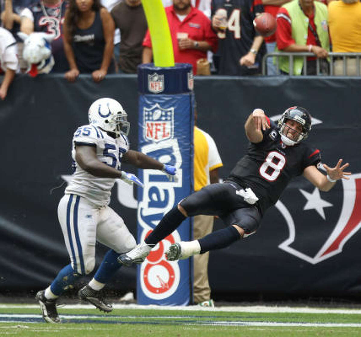 FALLING: Quarterback Matt Schaub Schaub committed three turnovers in the second half, including an interception that was returned by Clint Session for a touchdown in the fourth quarter.