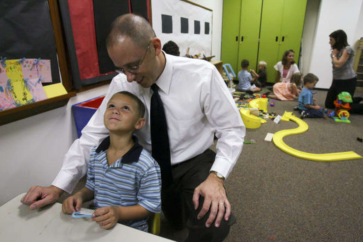 Bernie Hanus attends James' Sunday school class at Houston's First Baptist Church in July.